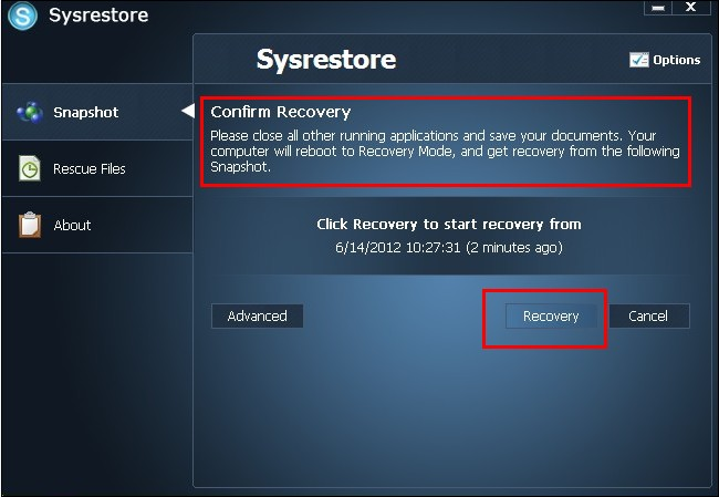 confirm recovery and then restart pc
